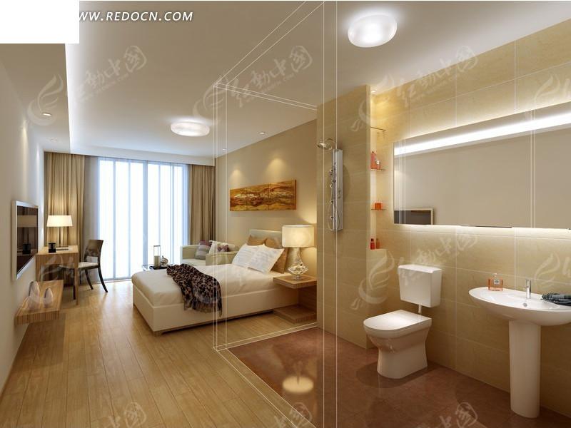 简约风格卧室室内装修设计效果图3ds素材免费下载_红图片