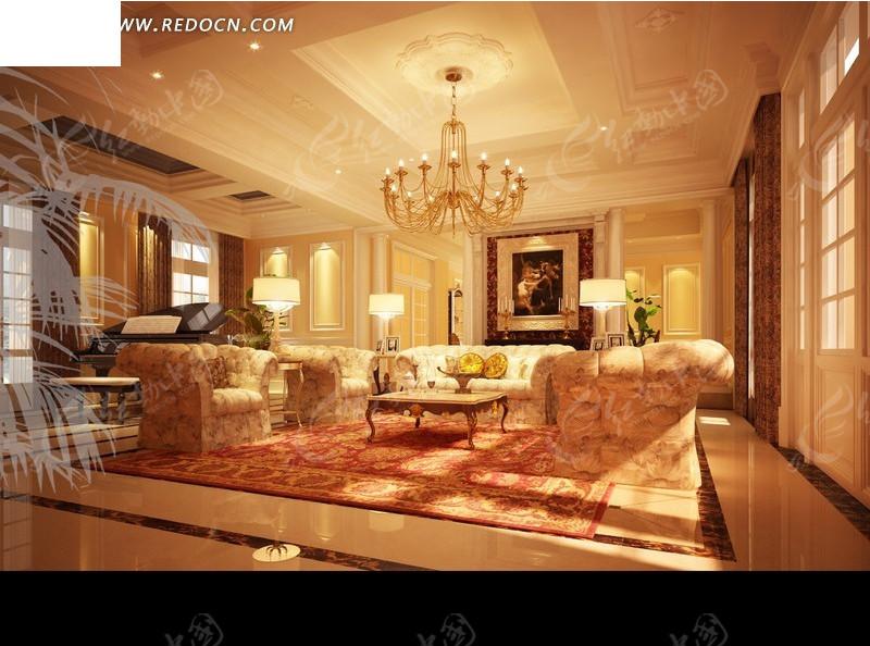 中式豪华大厅3d效果图 大型豪华娱乐厅3d效果图 欧式酒店豪华大厅效果