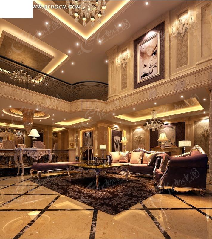 豪华楼中楼客厅装饰设计效果图3ds素材免费下载(编号)