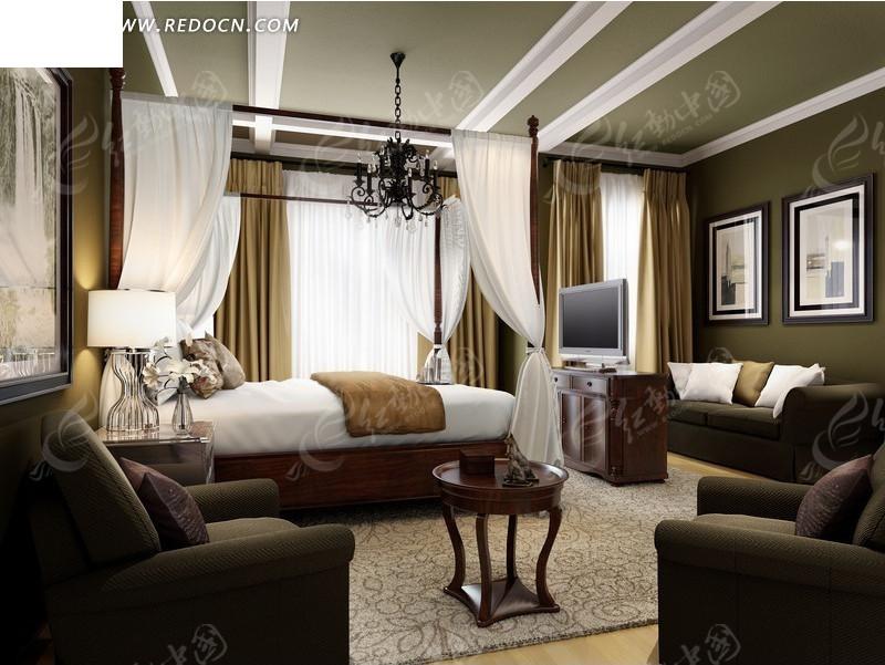 高档酒店套房卧室设计效果图