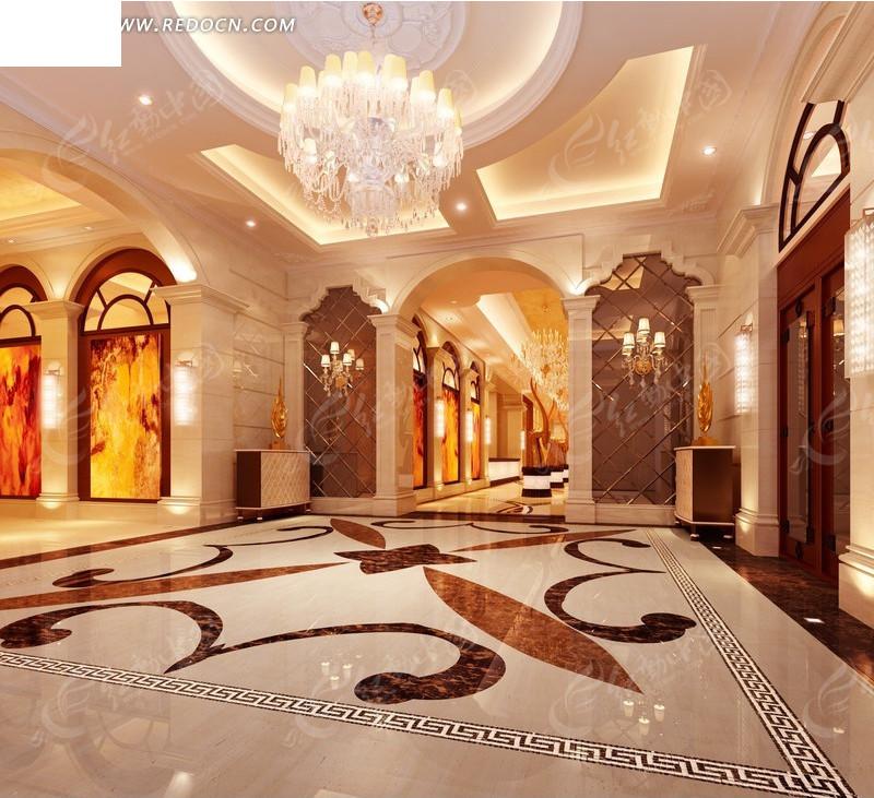 欧式酒店大堂设计效果图图片