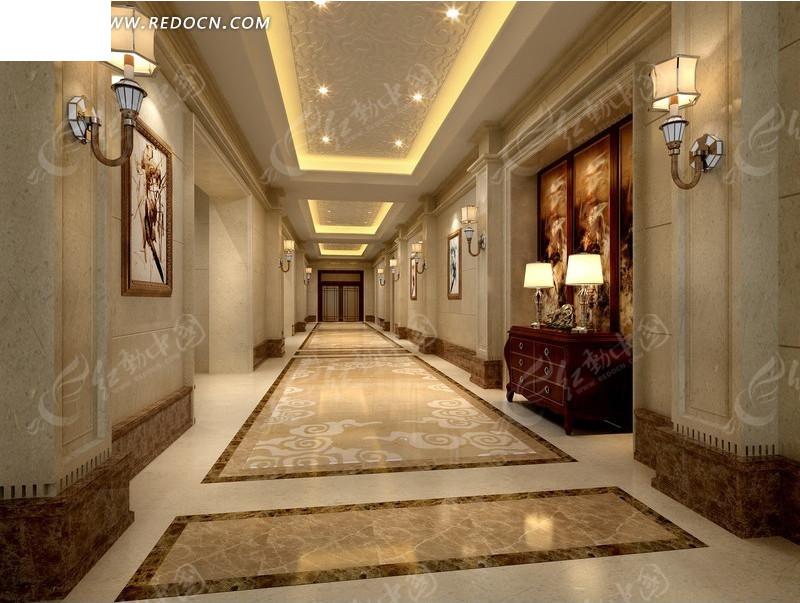 星级酒店走廊装修设计效果图图片