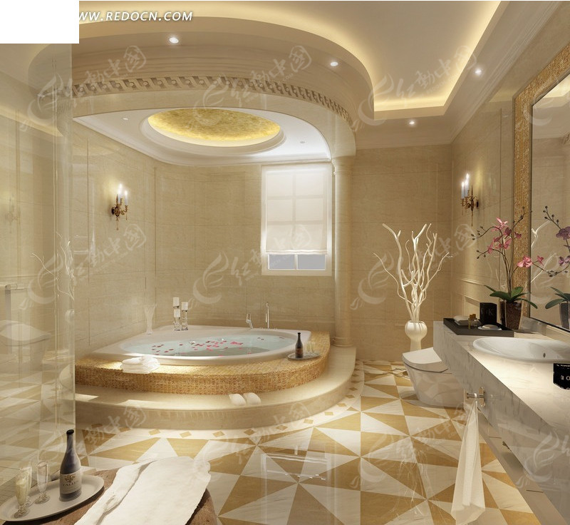Bathroom Showroom Design Ideas: 暖色系豪华酒店浴室设计效果图3ds素材免费下载_红动网