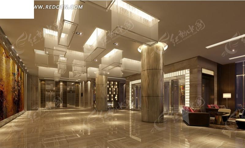 豪华酒店大厅装修设计效果图