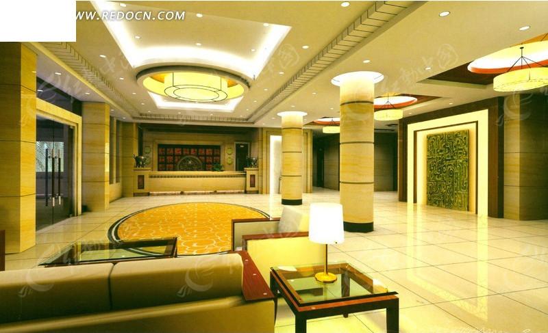 简约酒店大堂装修设计效果图图片