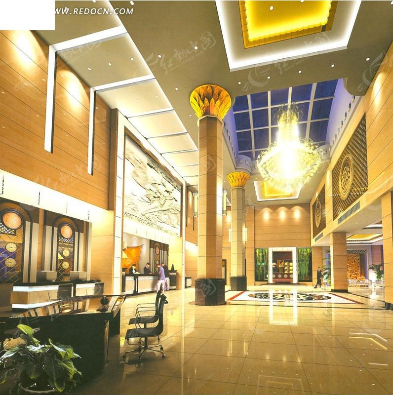 奢华酒店大堂装修设计效果图图片
