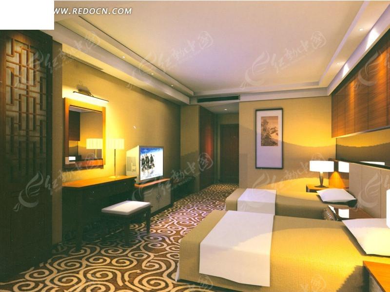 酒店双人房套房卧室装修设计效果图