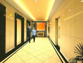 豪华酒店电梯厅装修设计效果图