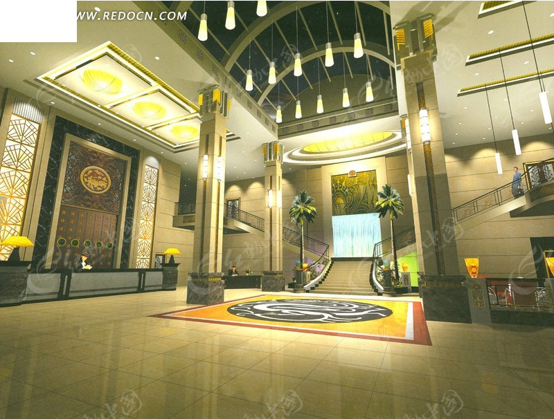 现代酒店高级典雅大堂设计效果图高清图片