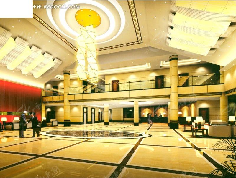 高档酒店大堂效果图_室内设计