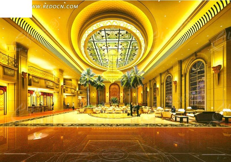 现代化星级大酒店大堂效果图高清图片