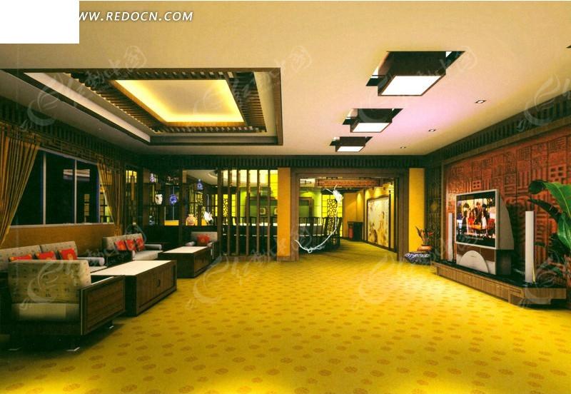 酒店ktv豪华宽敞包房效果图