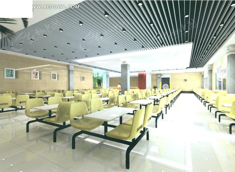 免费素材 3d素材 3d模型 室内设计 大型餐厅食堂效果图素材  请您分享图片
