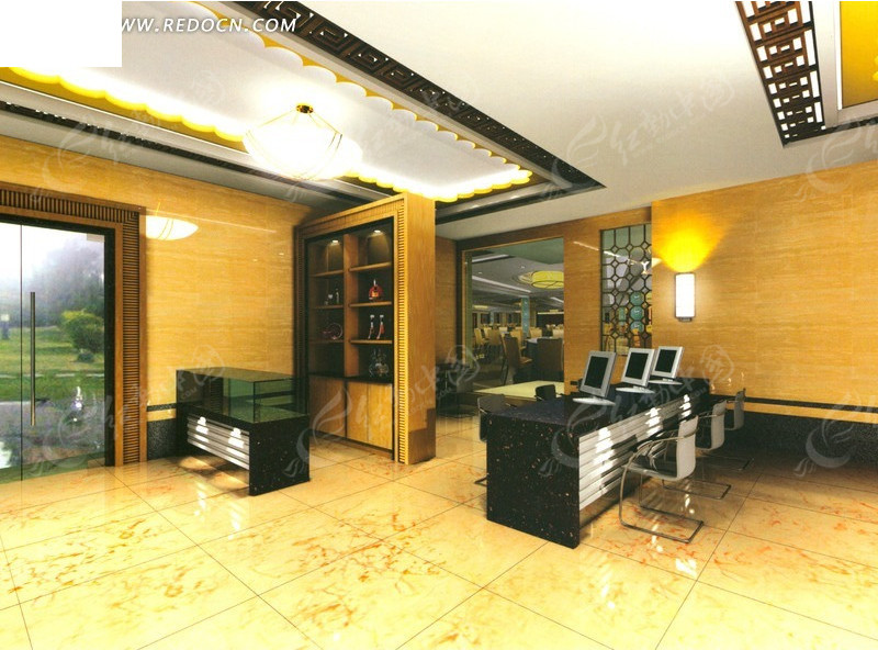 免费素材 3d素材 3d模型 室内设计 豪华餐厅门厅装修效果图  请您分享