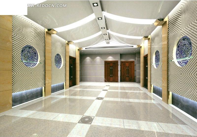 商务大楼创意过厅设计效果图