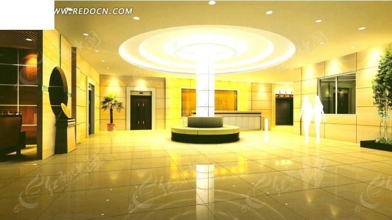 酒店华丽大堂过厅装修设计效果图