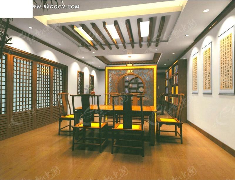 中式风格办公室3d效果图_室内设计图片
