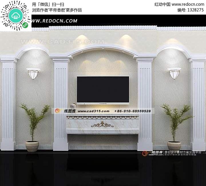 白色欧式背景墙3d效果图