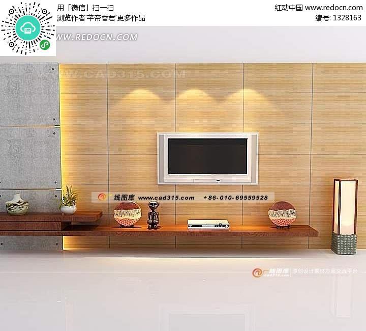 日式风格客厅电视机背景墙设计max源文件素材图片