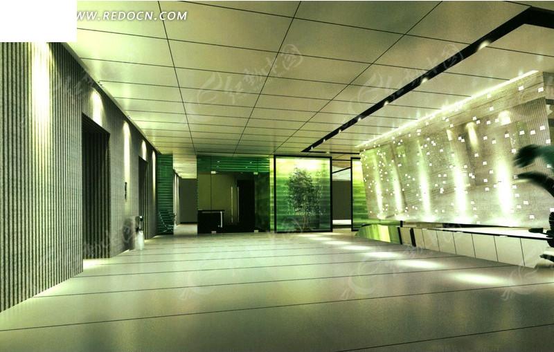简洁大方的现代企业门厅设计效果图图片高清图片