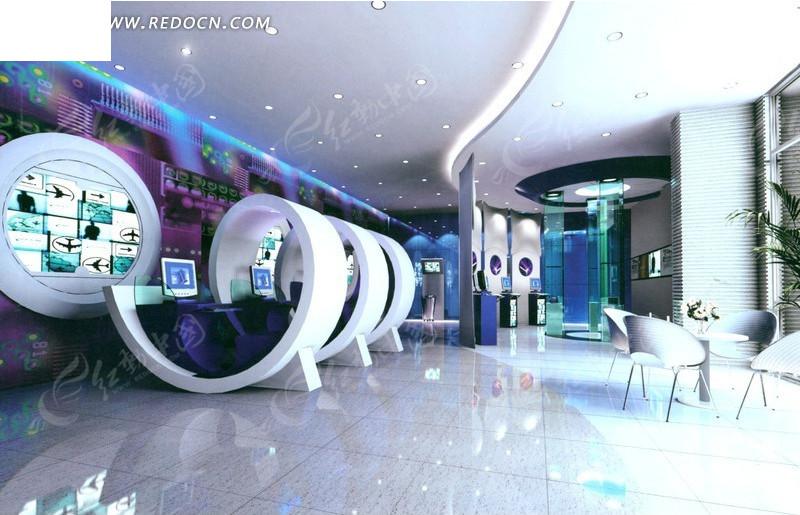 绚丽创意的展示厅设计效果图