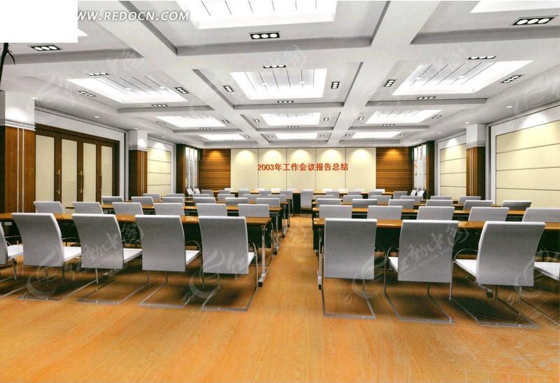 木地板简洁报告发布厅 效果图_室内设计