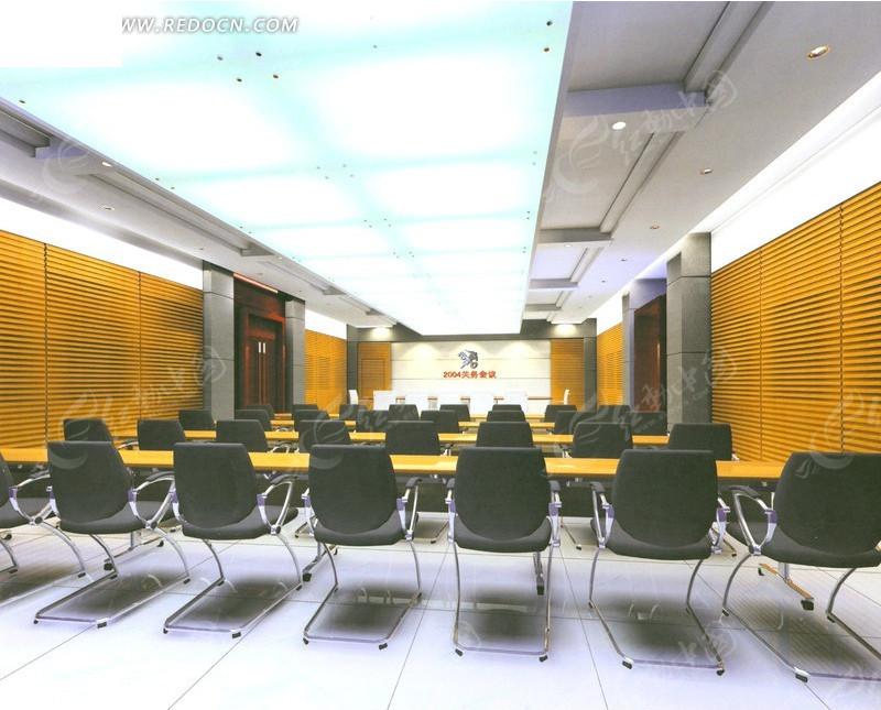 长方形大型会议室设计模拟图图片