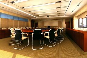 高档大型会议室装饰效果图3D模型下载