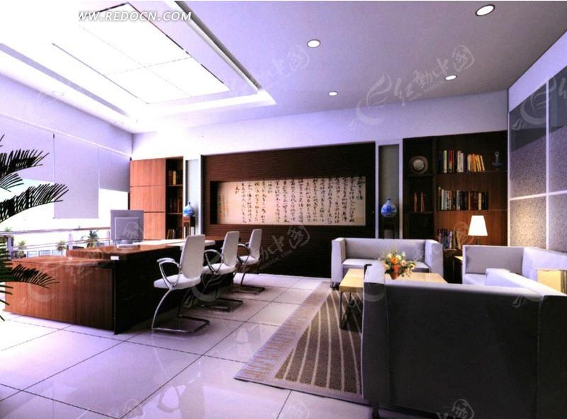 中式风格高层领导办公室3d室内模型图片