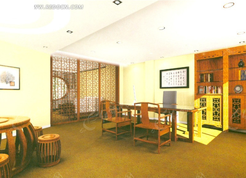 中式风格ceo办公室设计效果图图片