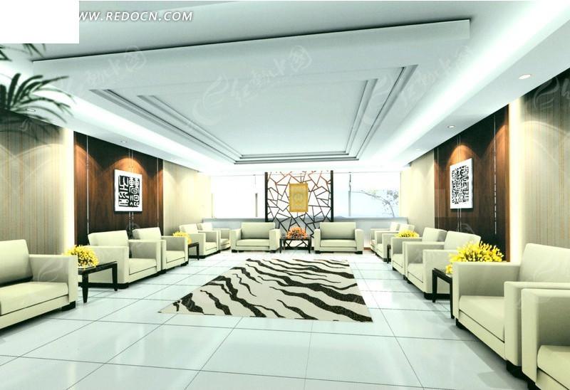 白色调接待厅室3d效果图_室内设计图片
