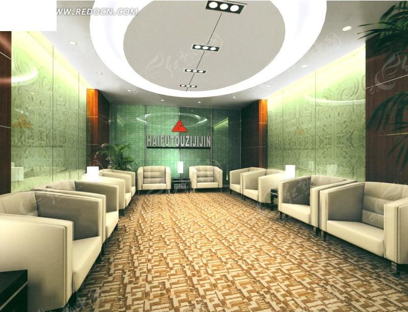 椭圆形吊顶的接待厅室3d效果图