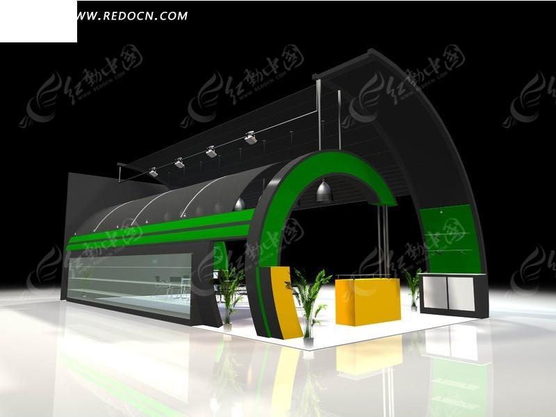 创意3d商业展示厅设计模型图片