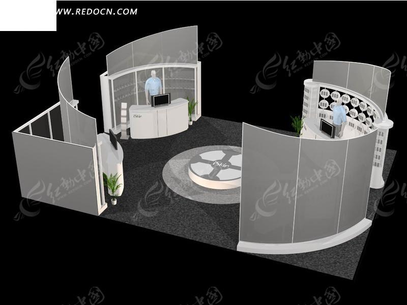 创意弧形墙商业展厅设计模型