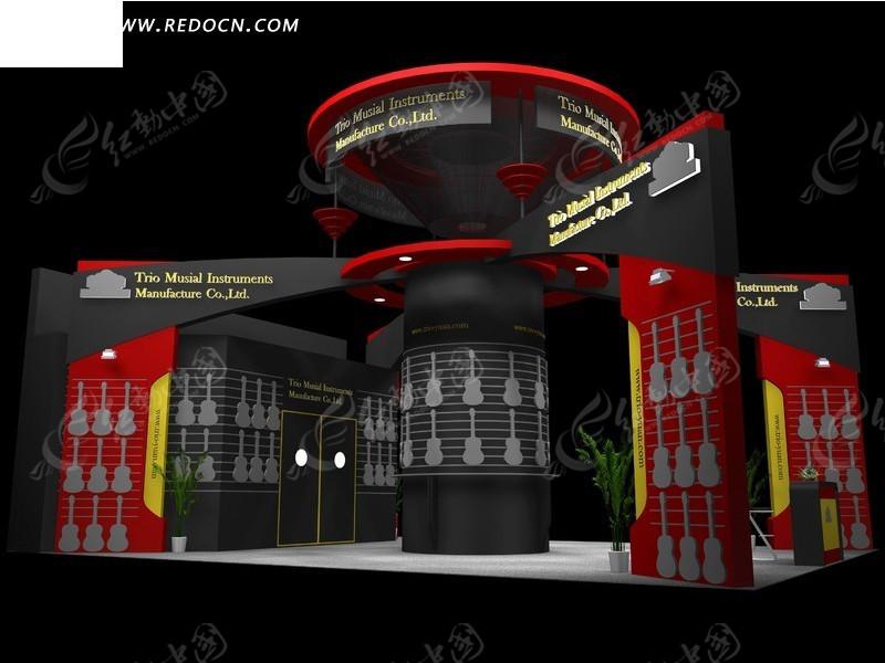 个性乐器吉他展示厅3d效果图