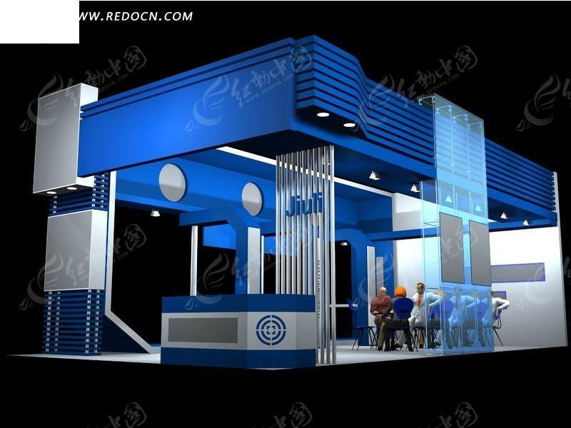 蓝色展厅展览设计效果图3d模板素材图片高清图片