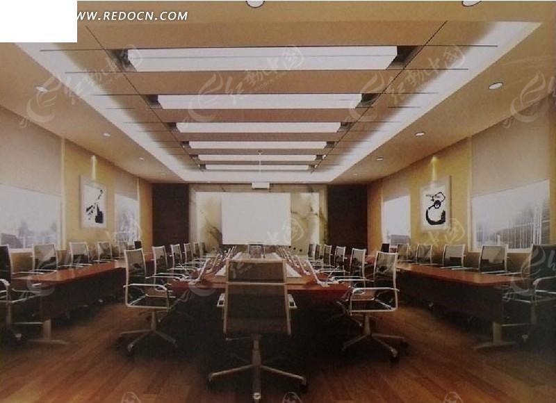 豪华会议室3d效果图_室内设计