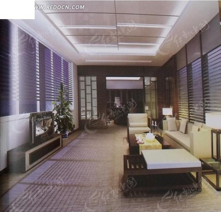 长方形客厅3d模型图_室内设计_红动手机版