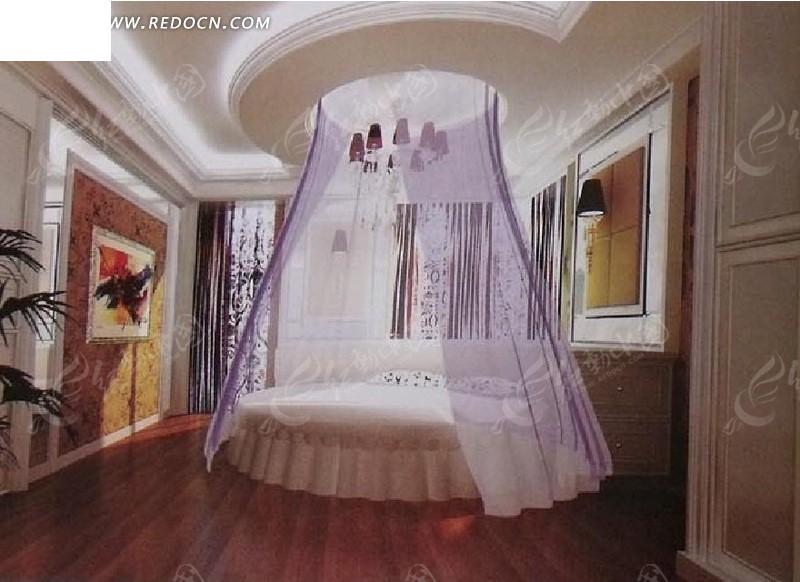 欧式浪漫圆床卧室max文件图片