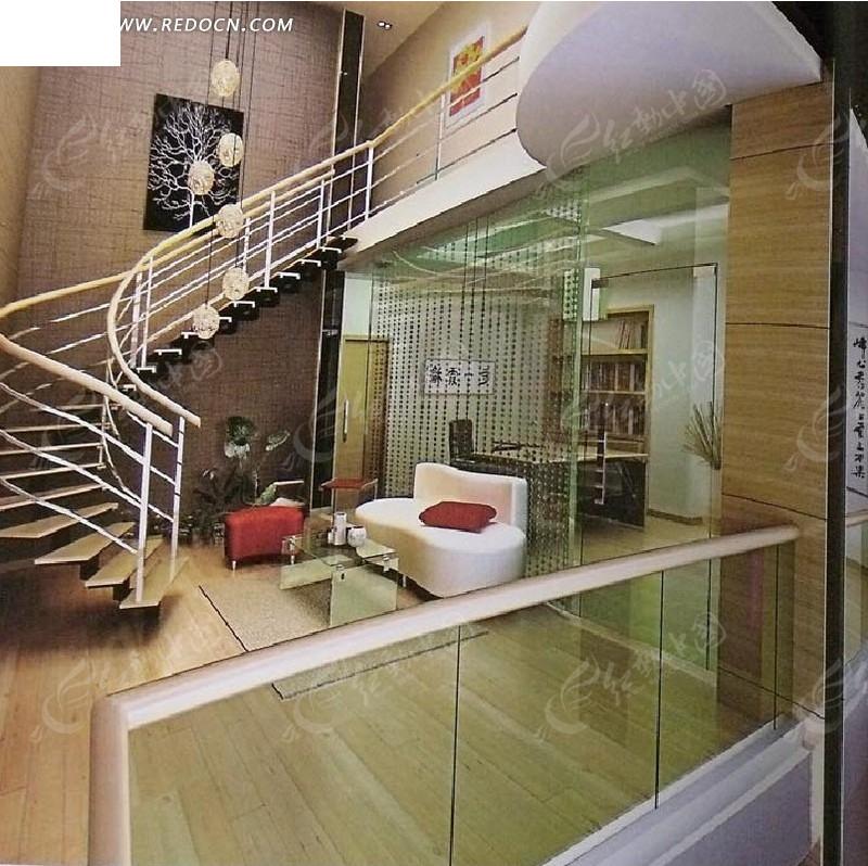 复式楼楼梯处设计3d效果图图片高清图片