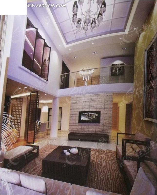 精装复式楼客厅设计3d效果图图片高清图片