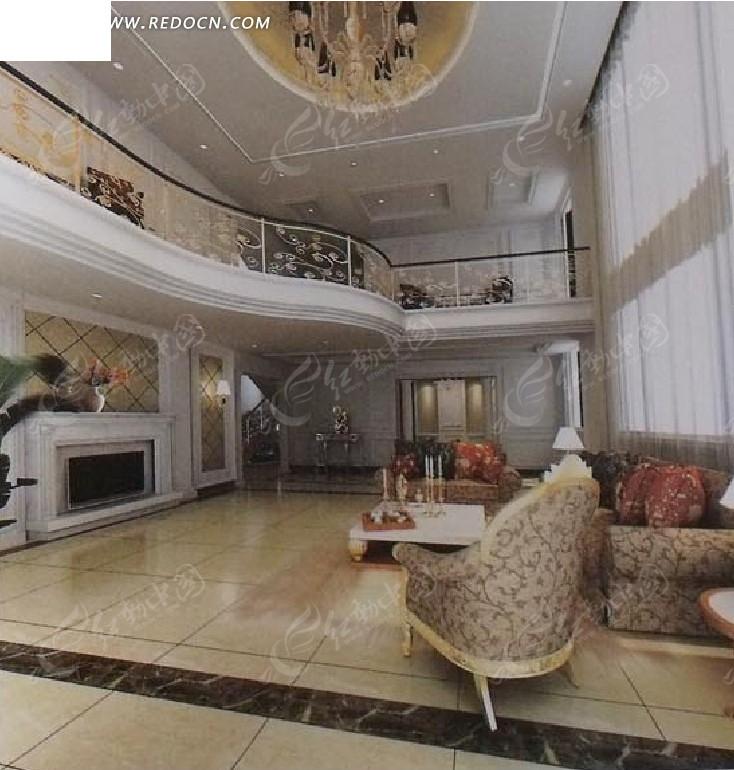 欧式复式楼客厅设计3d效果图