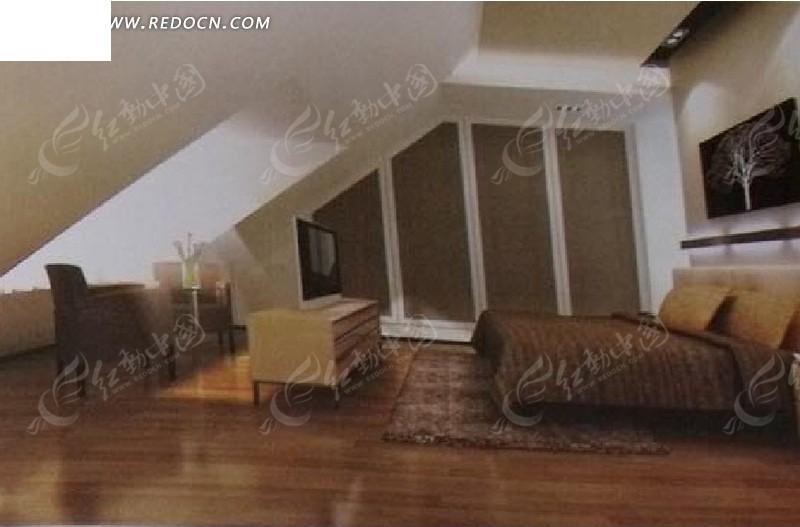 阁楼卧室设计3d效果图图片高清图片