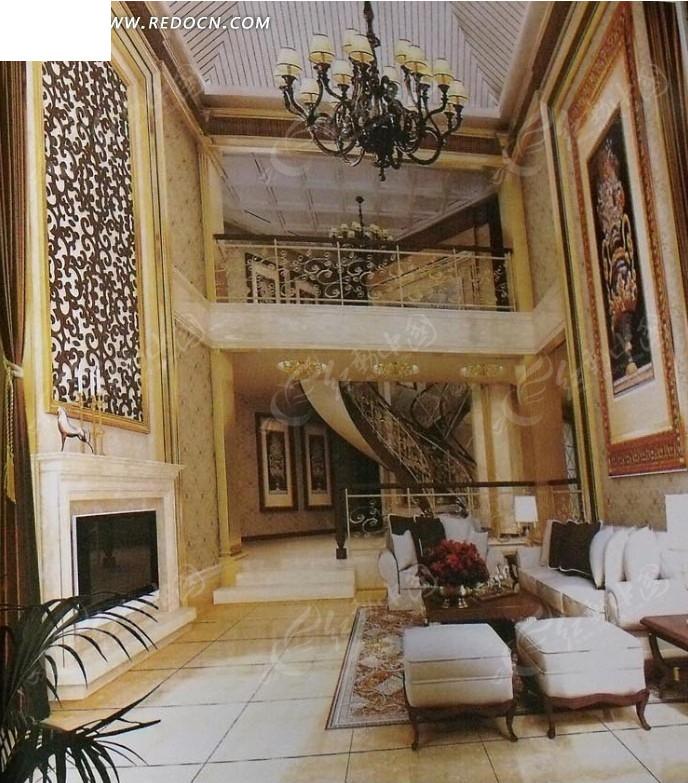 贵气别墅大厅室内设计3d效果图图片高清图片