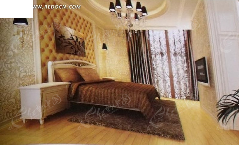 欧式风格卧室max模型_室内设计