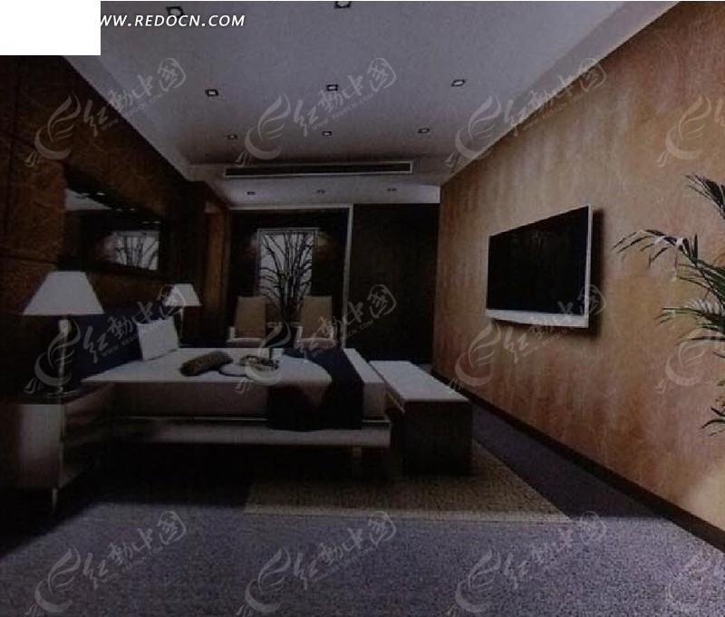 素色卧室设计3d效果图图片高清图片