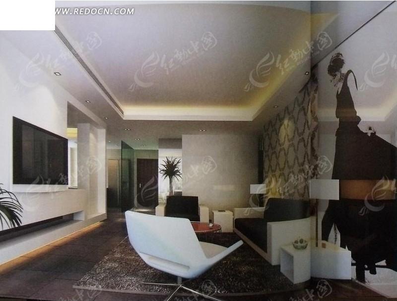 小型客厅装修3d效果图