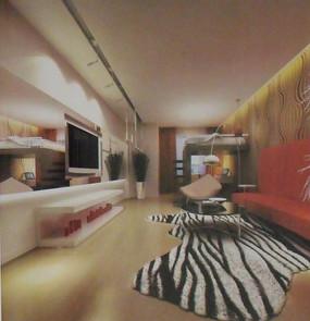 豪华时尚客厅装饰设计效果图模型素材
