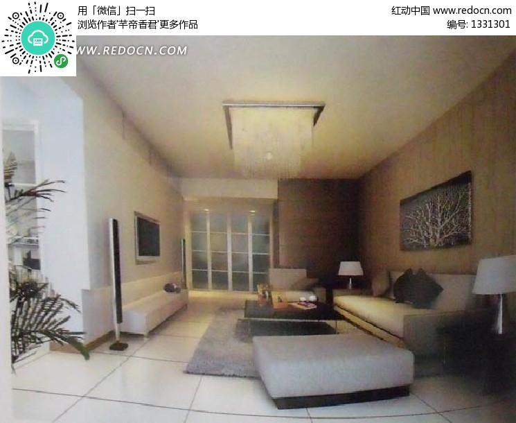 极简风格木饰面背景墙客厅3dmax模型