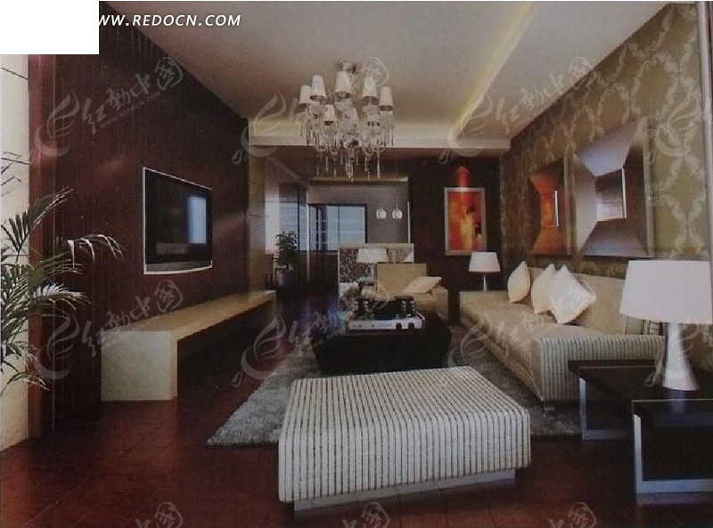 创意简洁客厅设计效果图